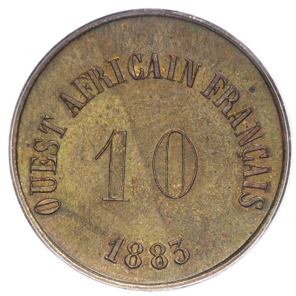 French West Africa (struck at the Paris mint), brass token 10 units (50 francs), 1883, rare, PCGS MS