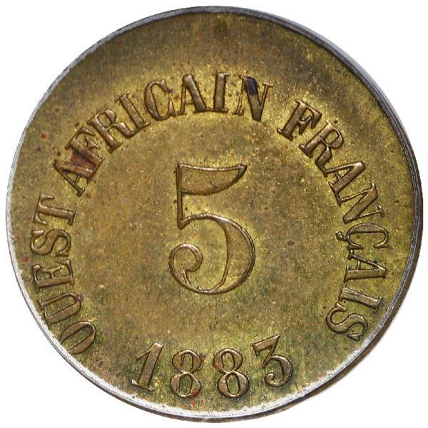 French West Africa (struck at the Paris mint), brass token 5 units (25 francs), 1883, rare, PCGS gen