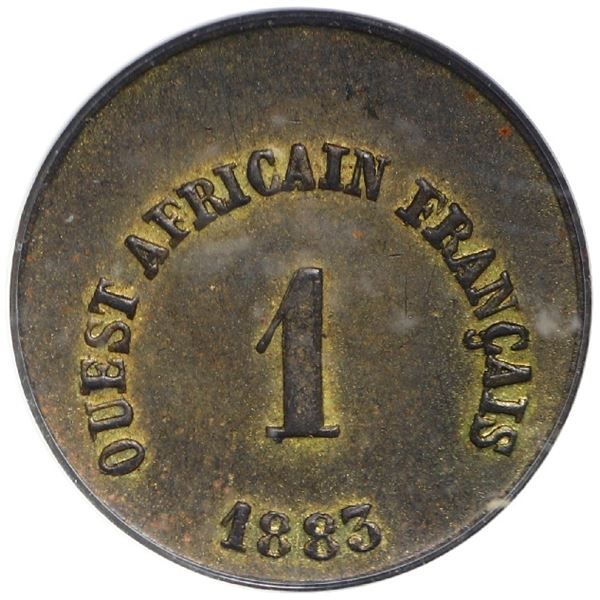 French West Africa (struck at the Paris mint), brass token 1 unit (5 francs), 1883, rare, PCGS MS63,