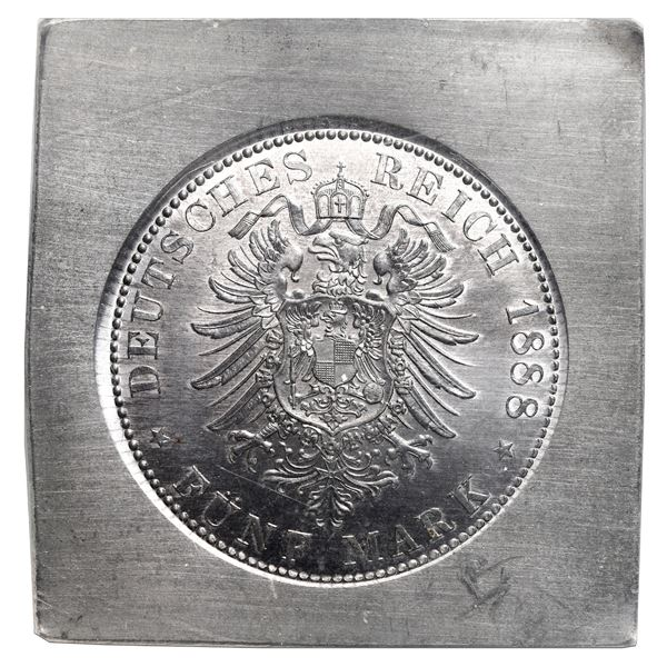 Prussia (German States), lead klippe 5 mark reverse trial, 1888, by Otto Schulz, NGC MS 64.