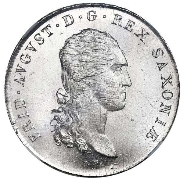 "Saxony (German States), mining taler, Friedrich August I, 1811-SGH, NGC MS 64 (""top pop"")."