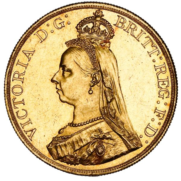 Great Britain (London, England), gold 5 pounds, Victoria (jubilee bust), 1887.