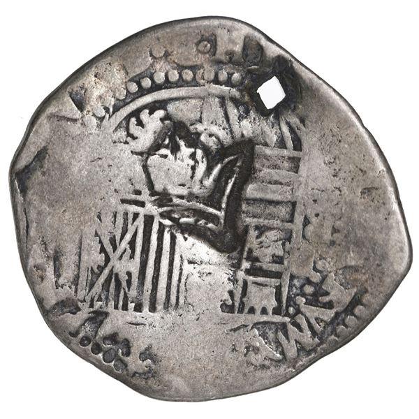 "Guatemala, 2 reales ""moclon,"" crown countermark (Type B, 1662) on shield side of a Potosi, Bolivia,"