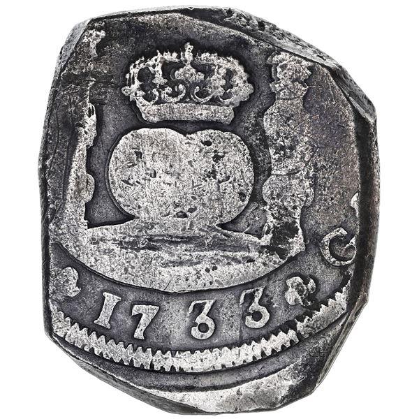Guatemala, cob 8 reales, 1733J, extremely rare.