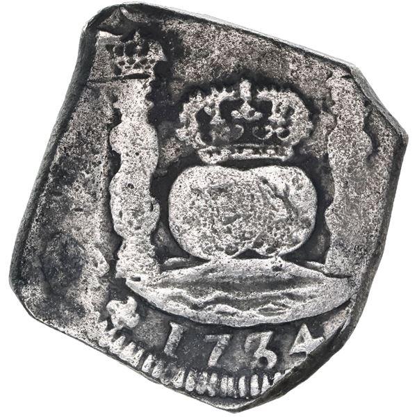 Guatemala, cob 8 reales, 1734J, rare.