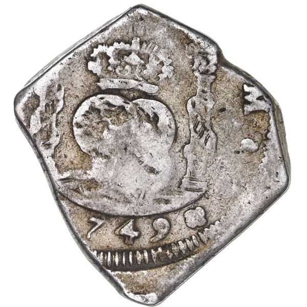 Guatemala, cob 8 reales, 1749J, with sun-over-mountains countermark (Type II, 1839) on shield side.