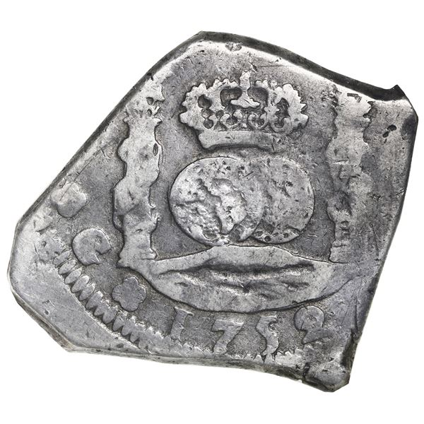 Guatemala, cob 8 reales, 1752J, NGC F 15.