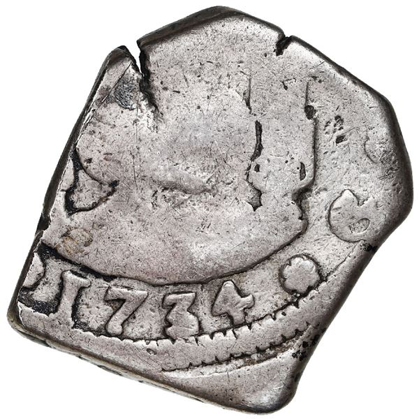 Guatemala, cob 4 reales, 1734J, rare, with sun-over-mountains countermark (Type II, 1839) on shield