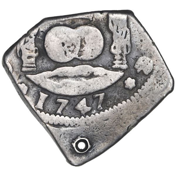 Guatemala, cob 4 reales, 1747J, Ferdinand VI, rare.