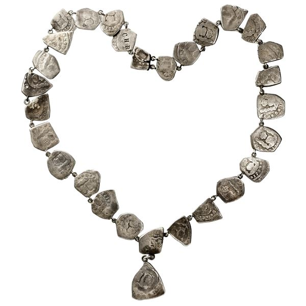 Silver necklace made of 29 Guatemala cob minors (one 2R, 27 1R and one 1/2R), several with visible d