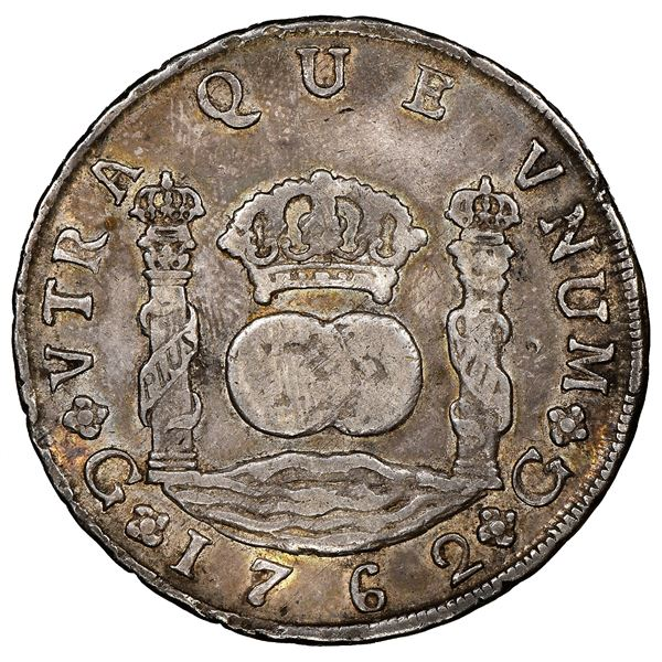 Guatemala, pillar 8 reales, Charles III, 1762P, rare, NGC VF 35.