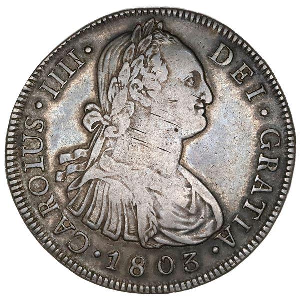 Guatemala, bust 8 reales, Charles IV, 1803M, NGC VF 35.
