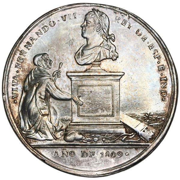 Guatemala, 8R-sized silver proclamation medal, Ferdinand VII, 1809, to the people of Guatemala, very