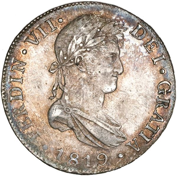 Guatemala, bust 8 reales, Ferdinand VII, 1819M, NGC MS 62, finest known in NGC census.