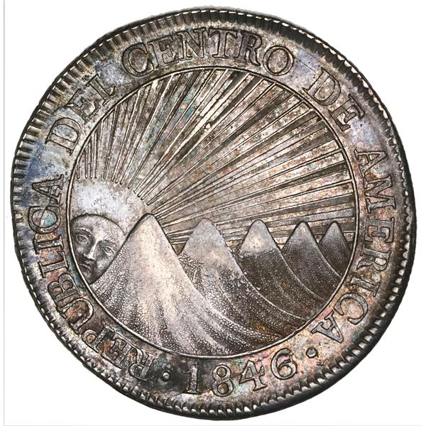Guatemala (Central American Republic), 8 reales, 1846/2AE/MA, CREZCA/CRESCA variety, NGC AU 58+.