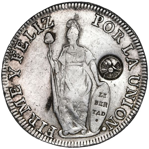 Guatemala, 8 reales, Type III double countermark (1840) on a Lima, Peru, 8 reales, 1834MM.
