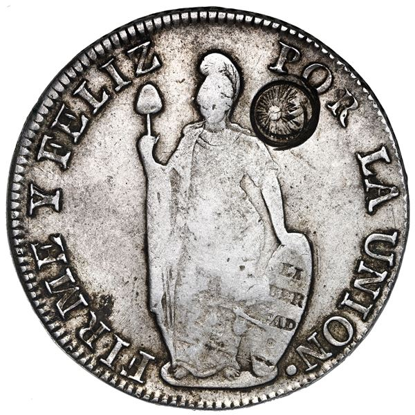 Guatemala, 8 reales, Type III double countermark (1840) on a Lima, Peru, 8 reales, 1841MM.