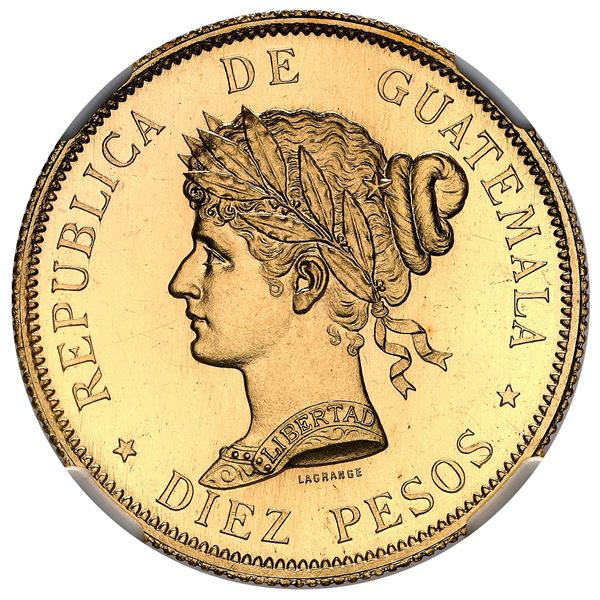 Guatemala (struck at the Paris mint), gold proof 10 pesos essai, 1894-A, NGC PF 64, finest known, ex