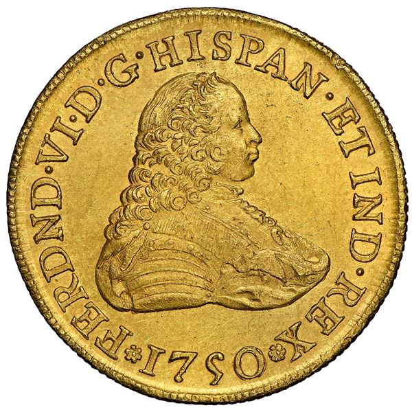 Mexico City, Mexico, gold bust 8 escudos, Ferdinand VI, 1750MF, NGC MS 62, finest known in NGC censu