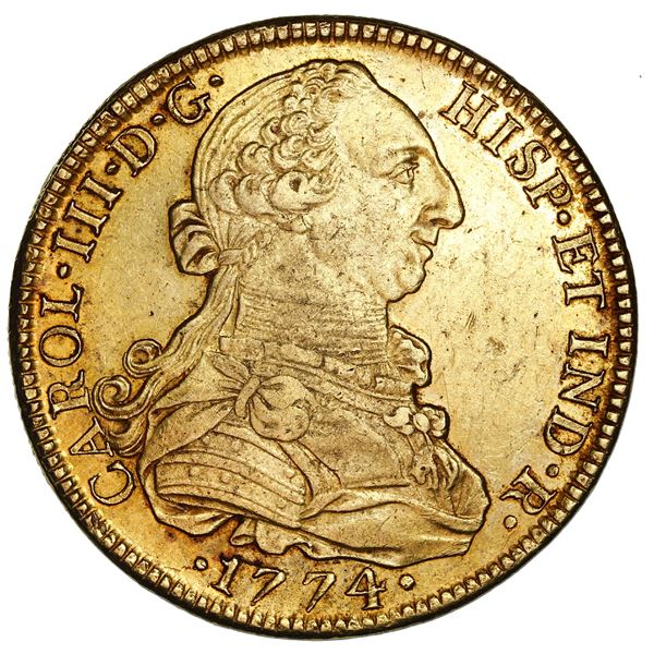 Mexico City, Mexico, gold bust 8 escudos, Charles III, 1774FM.