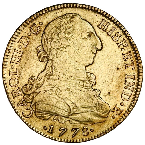 Mexico City, Mexico, gold bust 8 escudos, Charles III, 1778FF, NGC AU details / cleaned.