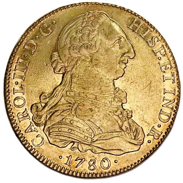 Mexico City, Mexico, gold bust 8 escudos, Charles III, 1780/70FF, unlisted overdate, NGC AU 53, fine
