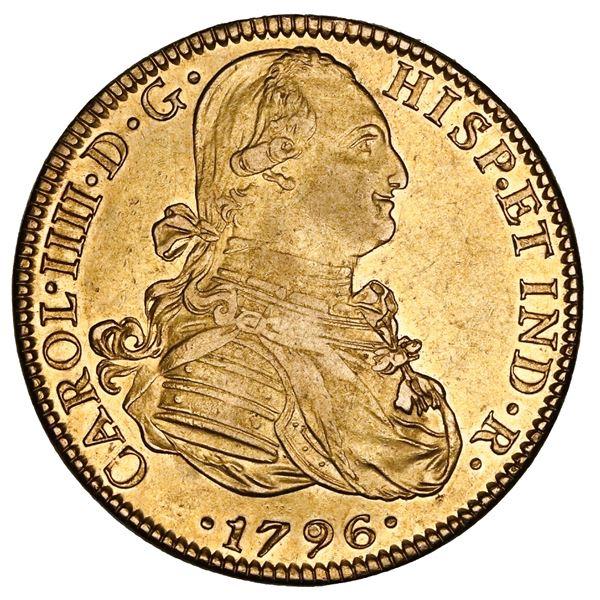 Mexico City, Mexico, gold bust 8 escudos, Charles IV, 1796FM, NGC AU 55.