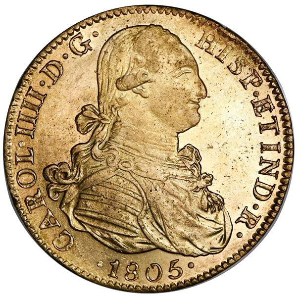 Mexico City, Mexico, gold 8 escudos, Charles IV, 1805TH.