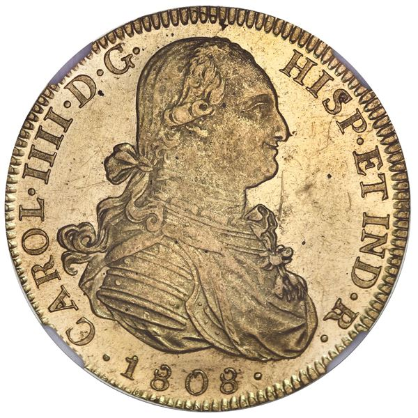 Mexico City, Mexico, gold bust 8 escudos, Charles IV, 1808TH, mintmark over inverted mintmark (unlis