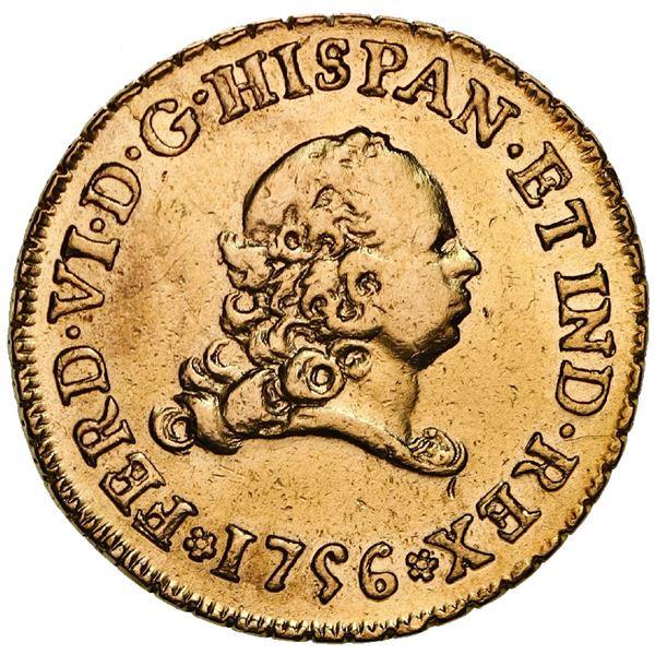 Mexico City, Mexico, gold bust 2 escudos, Ferdinand VI, 1756MM.