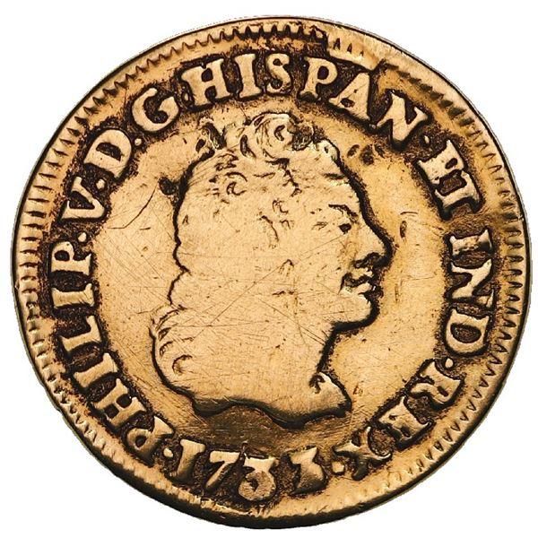 Mexico City, Mexico, gold bust 1 escudo, Philip V, 1733/2F, very rare.