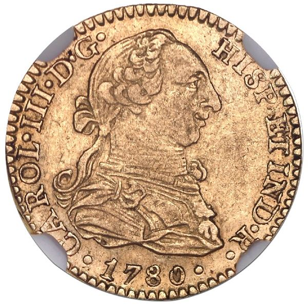 Mexico City, Mexico, gold bust 1 escudo, Charles III, 1780FF/M, unlisted over-assayer, NGC AU 53.