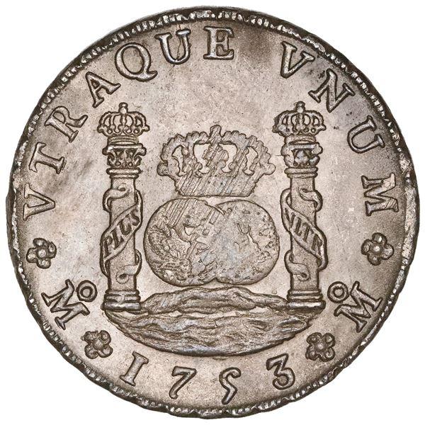 "Mexico City, Mexico, pillar 8 reales, Ferdinand VI, 1753MF, NGC MS 63 (""top pop"")."