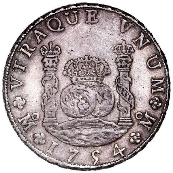 Mexico City, Mexico, pillar 8 reales, Ferdinand VI, 1754MM, dissimilar crowns, ex-Potomac.