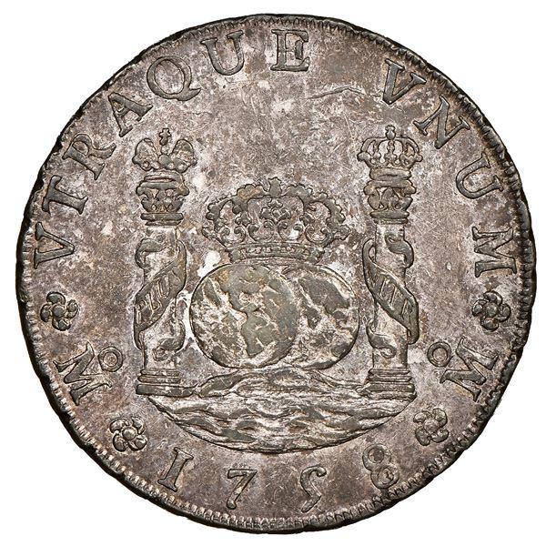 Mexico City, Mexico, pillar 8 reales, Ferdinand VI, 1758MM, NCG AU 55.