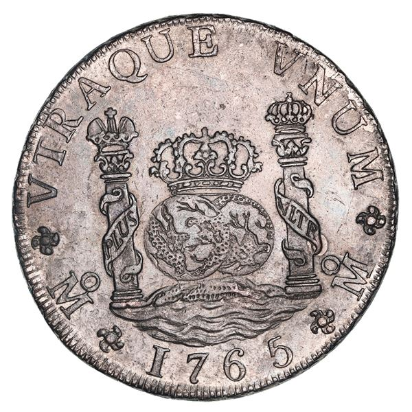 Mexico City, Mexico, pillar 8 reales, Charles III, 1765MF, double-arc crown (rare).
