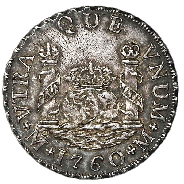 Mexico City, Mexico, pillar 2 reales, Charles III, 1760M, A over inverted A in king's name (very rar