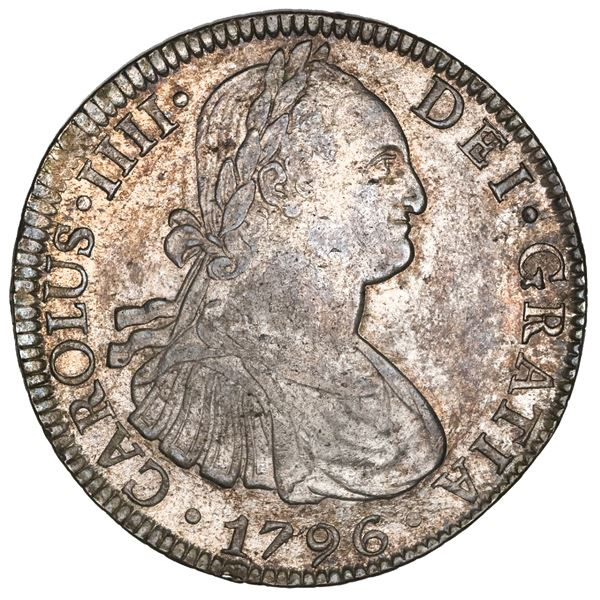 Mexico City, Mexico, bust 8 reales, Charles IV, 1796FM, NGC MS 62.