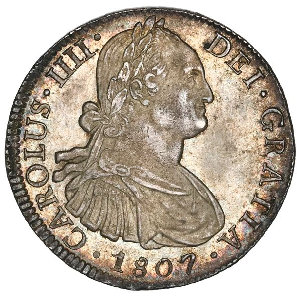 """Mexico City, Mexico, bust 8 reales, Charles IV, 1807TH, NGC MS 64 (""""top pop"""")."""