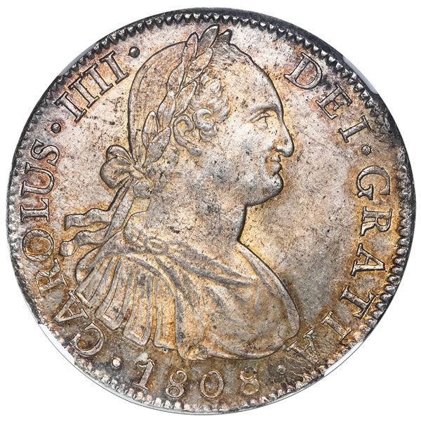 Mexico City, Mexico, bust 8 reales, Charles IV, 1808TH, NGC MS 63.