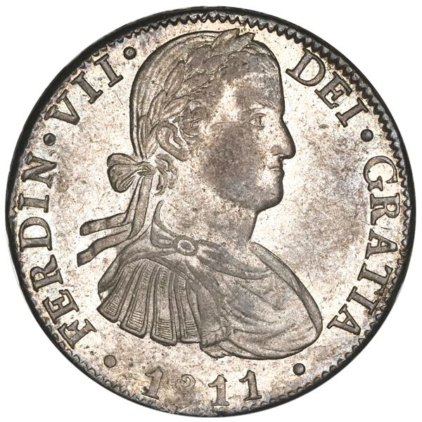 """Mexico City, Mexico, bust 8 reales, Ferdinand VII transitional (""""armored"""" bust), 1811HJ, NGC MS 63."""