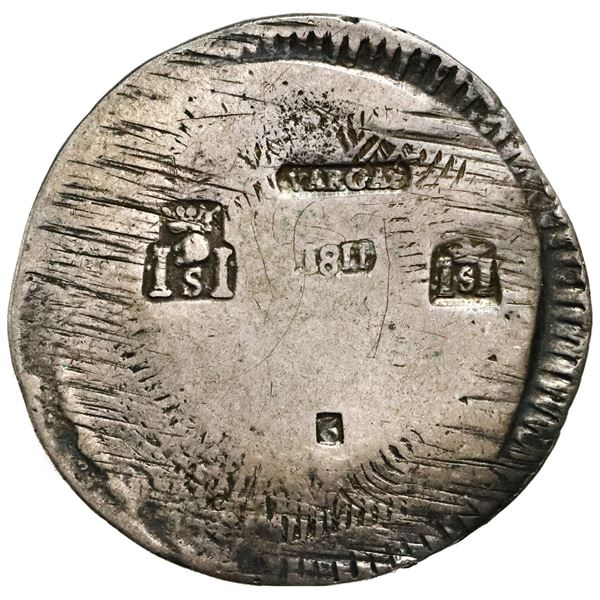 Sombrerete, Mexico, 8 reales, Ferdinand VII, 1811, issued under General Vargas, countermarked type,