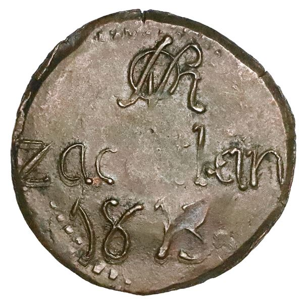 Zacatlan, Puebla, Mexico, copper 2 reales, 1813, issued under General Osorno, NGC MS 62 BN, finest a