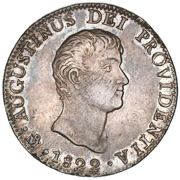 Mexico City, Mexico, 8 reales, 1822JM, Iturbide, short uneven truncation, 8R.J.M. below eagle, NGC A