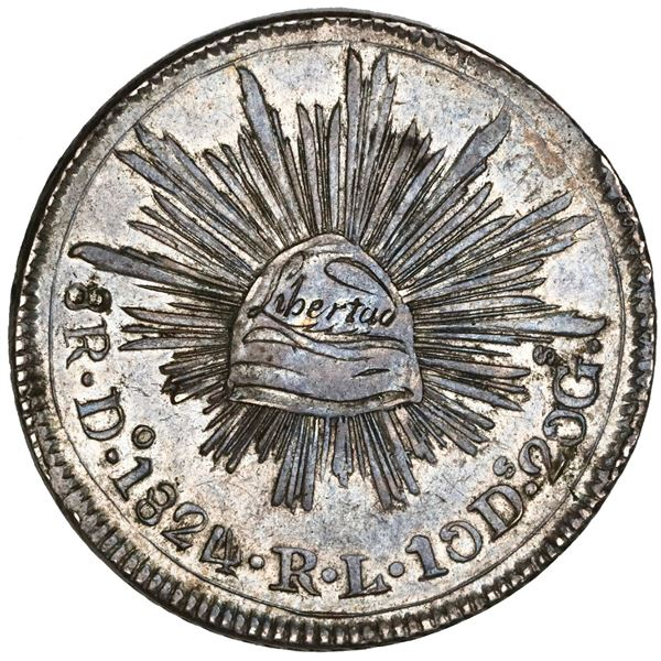 Durango, Mexico,  hookneck  8 reales, 1824RL, folded snake, small Libertad, NGC AU 58, finest known