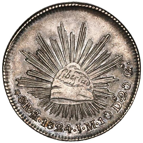 """Mexico City, Mexico, """"hookneck"""" 8 reales, 1824JM, NGC AU 53."""