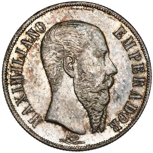 Mexico City, Mexico, 1 peso, 1866, Maximilian, NGC MS 64+.