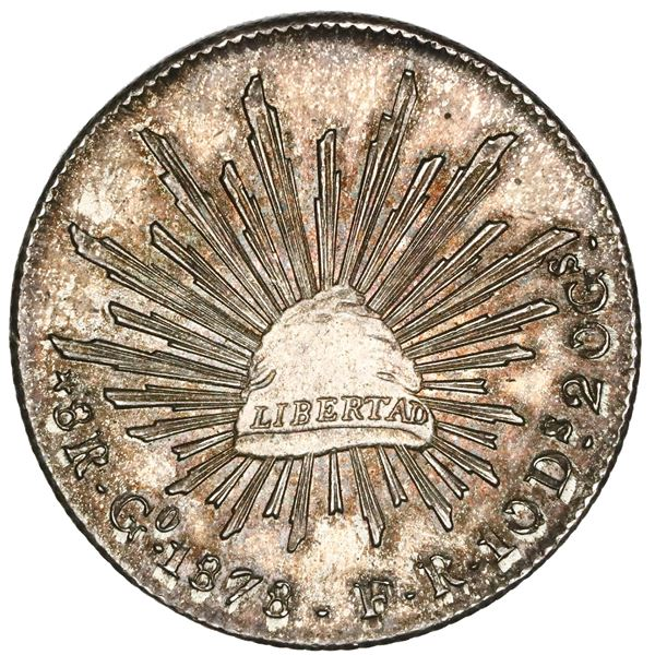 Guanajuato, Mexico, cap-and-rays 8 reales, 1878FR, NGC MS 64.