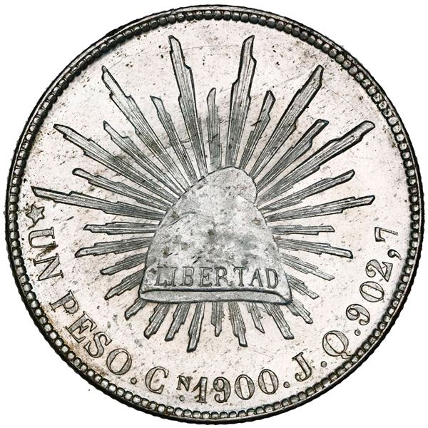 """Culiacan, Mexico, cap-and-rays 1 peso, 1900JQ, NGC MS 65 (""""top pop"""")."""