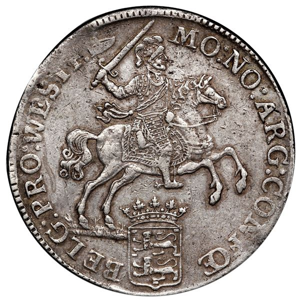 """West Friesland, United Netherlands, """"rider"""" ducatoon, 1765/62, PCGS XF45, finest and only example in"""